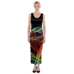 Dancing Northern Lights, Abstract Summer Sky  Fitted Maxi Dress