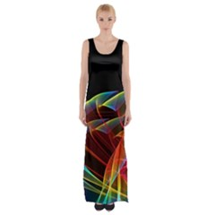 Dancing Northern Lights, Abstract Summer Sky  Maxi Thigh Split Dress