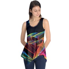 Dancing Northern Lights, Abstract Summer Sky  Sleeveless Tunic