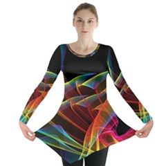 Dancing Northern Lights, Abstract Summer Sky  Long Sleeve Tunic