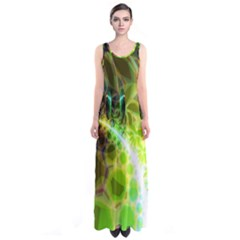Dawn Of Time, Abstract Lime & Gold Emerge Full Print Maxi Dress