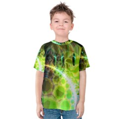 Dawn Of Time, Abstract Lime & Gold Emerge Kid s Cotton Tee