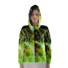 Dawn Of Time, Abstract Lime & Gold Emerge Hooded Wind Breaker (women)