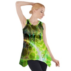 Dawn Of Time, Abstract Lime & Gold Emerge Side Drop Tank Tunic
