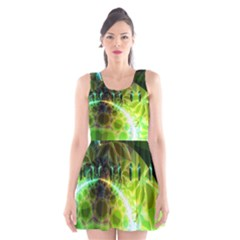 Dawn Of Time, Abstract Lime & Gold Emerge Scoop Neck Skater Dress