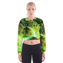 Dawn Of Time, Abstract Lime & Gold Emerge Women s Cropped Sweatshirt