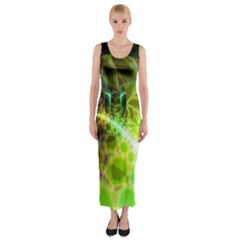 Dawn Of Time, Abstract Lime & Gold Emerge Fitted Maxi Dress
