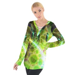 Dawn Of Time, Abstract Lime & Gold Emerge Women s Tie Up Tee