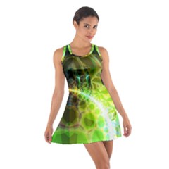 Dawn Of Time, Abstract Lime & Gold Emerge Racerback Dresses