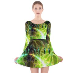 Dawn Of Time, Abstract Lime & Gold Emerge Long Sleeve Velvet Skater Dress