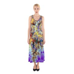 Desert Winds, Abstract Gold Purple Cactus  Full Print Maxi Dress