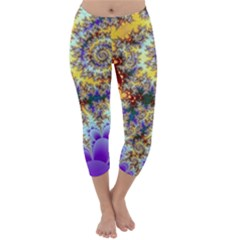 Desert Winds, Abstract Gold Purple Cactus  Capri Winter Leggings