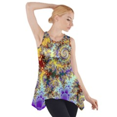 Desert Winds, Abstract Gold Purple Cactus  Side Drop Tank Tunic