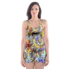 Desert Winds, Abstract Gold Purple Cactus  Skater Dress Swimsuit