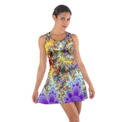 Desert Winds, Abstract Gold Purple Cactus  Racerback Dresses