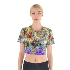 Desert Winds, Abstract Gold Purple Cactus  Cotton Crop Top