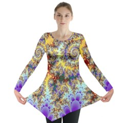 Desert Winds, Abstract Gold Purple Cactus  Long Sleeve Tunic