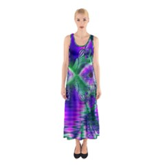 Evening Crystal Primrose, Abstract Night Flowers Full Print Maxi Dress
