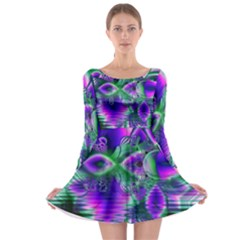 Evening Crystal Primrose, Abstract Night Flowers Long Sleeve Skater Dress