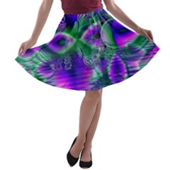 Evening Crystal Primrose, Abstract Night Flowers A Line Skater Skirt