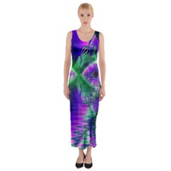 Evening Crystal Primrose, Abstract Night Flowers Fitted Maxi Dress