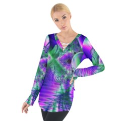 Evening Crystal Primrose, Abstract Night Flowers Women s Tie Up Tee