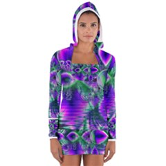 Evening Crystal Primrose, Abstract Night Flowers Women s Long Sleeve Hooded T-shirt
