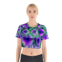 Evening Crystal Primrose, Abstract Night Flowers Cotton Crop Top