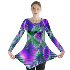 Evening Crystal Primrose, Abstract Night Flowers Long Sleeve Tunic