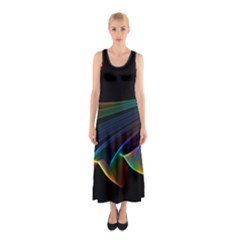 Flowing Fabric of Rainbow Light, Abstract  Full Print Maxi Dress