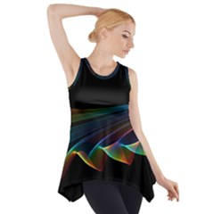 Flowing Fabric of Rainbow Light, Abstract  Side Drop Tank Tunic