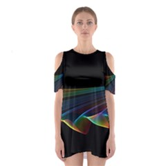 Flowing Fabric of Rainbow Light, Abstract  Cutout Shoulder Dress