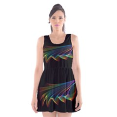 Flowing Fabric of Rainbow Light, Abstract  Scoop Neck Skater Dress