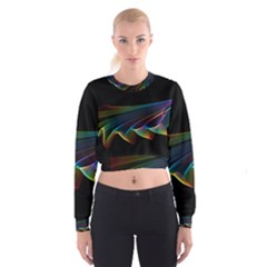 Flowing Fabric of Rainbow Light, Abstract  Women s Cropped Sweatshirt