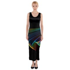 Flowing Fabric of Rainbow Light, Abstract  Fitted Maxi Dress