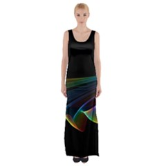 Flowing Fabric Of Rainbow Light, Abstract  Maxi Thigh Split Dress
