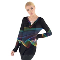 Flowing Fabric of Rainbow Light, Abstract  Women s Tie Up Tee