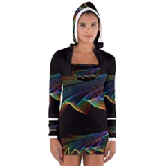 Flowing Fabric Of Rainbow Light, Abstract  Women s Long Sleeve Hooded T Shirt
