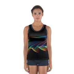 Flowing Fabric Of Rainbow Light, Abstract  Tops