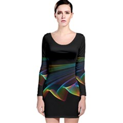 Flowing Fabric of Rainbow Light, Abstract  Long Sleeve Velvet Bodycon Dress