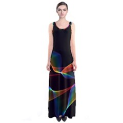 Fluted Cosmic Rafluted Cosmic Rainbow, Abstract Winds Full Print Maxi Dress