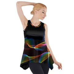 Fluted Cosmic Rafluted Cosmic Rainbow, Abstract Winds Side Drop Tank Tunic