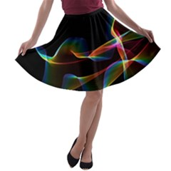 Fluted Cosmic Rafluted Cosmic Rainbow, Abstract Winds A Line Skater Skirt