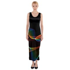 Fluted Cosmic Rafluted Cosmic Rainbow, Abstract Winds Fitted Maxi Dress