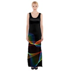 Fluted Cosmic Rafluted Cosmic Rainbow, Abstract Winds Maxi Thigh Split Dress