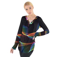 Fluted Cosmic Rafluted Cosmic Rainbow, Abstract Winds Women s Tie Up Tee