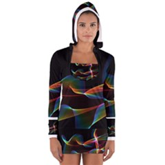 Fluted Cosmic Rafluted Cosmic Rainbow, Abstract Winds Women s Long Sleeve Hooded T-shirt