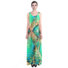 Golden Teal Peacock, Abstract Copper Crystal Full Print Maxi Dress