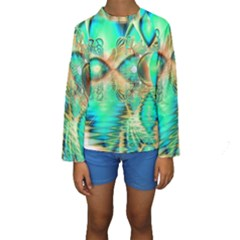 Golden Teal Peacock, Abstract Copper Crystal Kid s Long Sleeve Swimwear