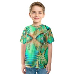 Golden Teal Peacock, Abstract Copper Crystal Kid s Sport Mesh Tee